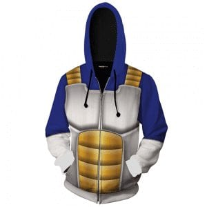 Dragon Ball Z Vegeta Inspired Suit Cosplay Zip Up Hoodie