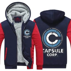 DBZ Capsule Corp Red & Blue Fashionable Zip Up Hooded Jacket