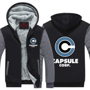 DBZ Capsule Corp Stylish Gray & Black Zip Up Hooded Jacket