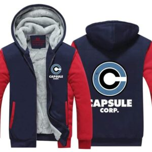 DBZ Capsule Corp Stylish Red & Blue Zip Up Hooded Jacket