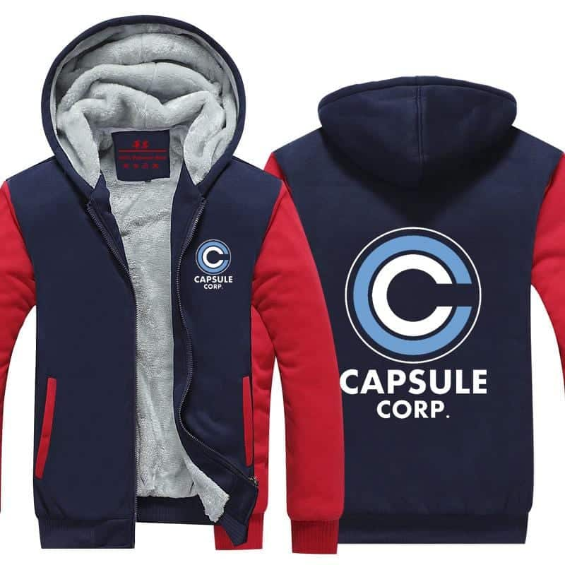 DBZ Capsule Corporation Red & Blue Zip Up Hooded Jacket