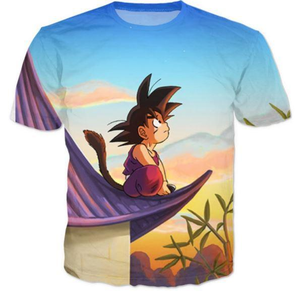 DBZ Cute Kid Goku Sitting Sky All Over Print T-Shirt - Saiyan Stuff