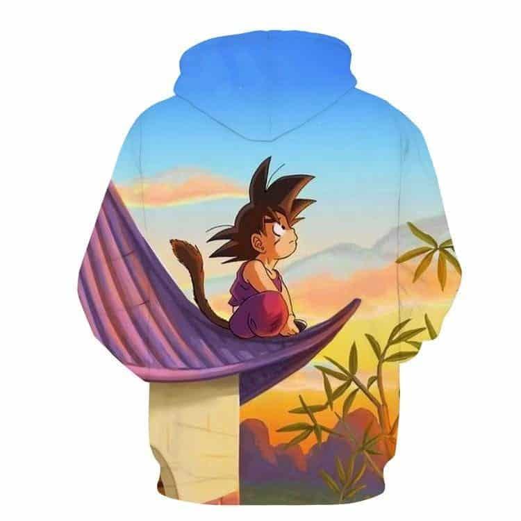 DBZ Cute Kid Goku Sitting Sky Full Print Pocket 3D Hoodie - Saiyan Stuff - 2