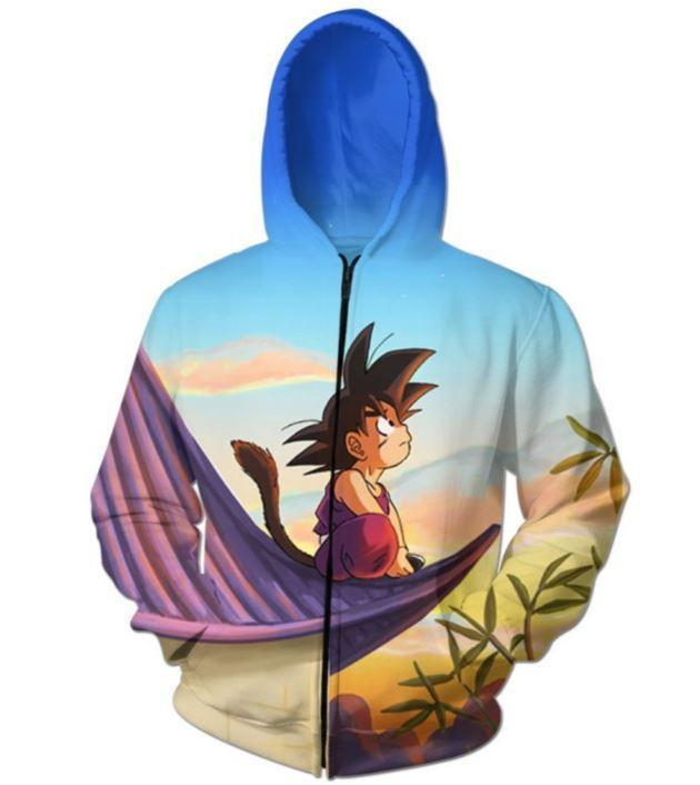DBZ Cute Kid Goku Sitting Sky Full Print Zip Up Hoodie - Saiyan Stuff