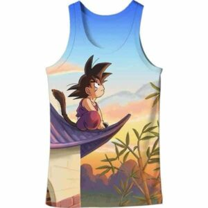 DBZ Cute Kid Goku Sitting Sky All Over Print Tank Top - Saiyan Stuff