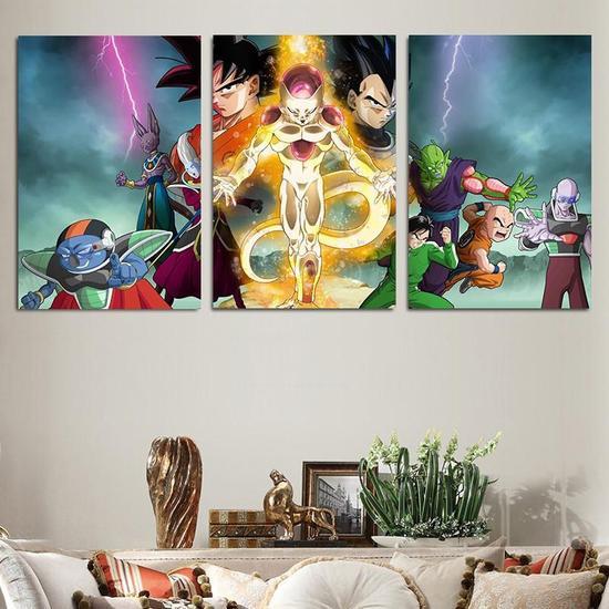 DBZ Frieza Fight Goku Vegeta Piccolo 3pc Wall Art Decor Canvas Prints