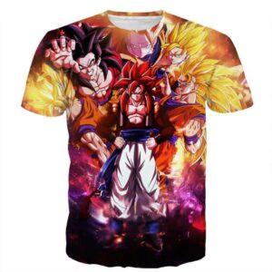 DBZ Gogeta Goku Vegeta Super Saiyan Powerful Lightning Thunder Design T-Shirt - Saiyan Stuff - 1