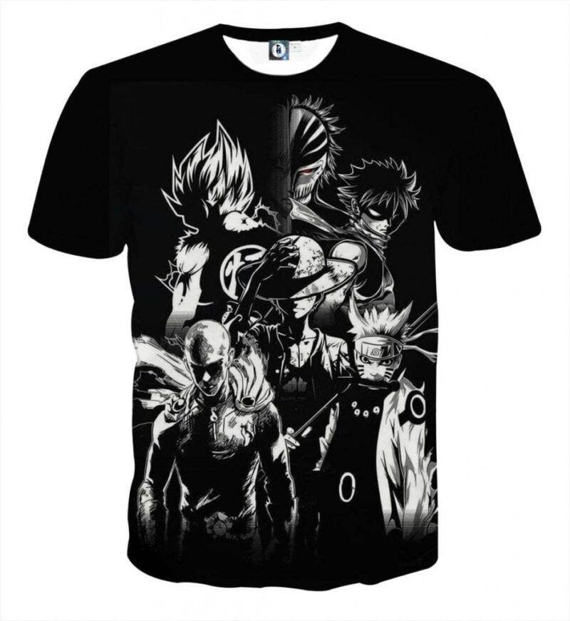 DBZ Goku Naruto Saitama Luffy Natsu Ichigo Dope Anime T-Shirt
