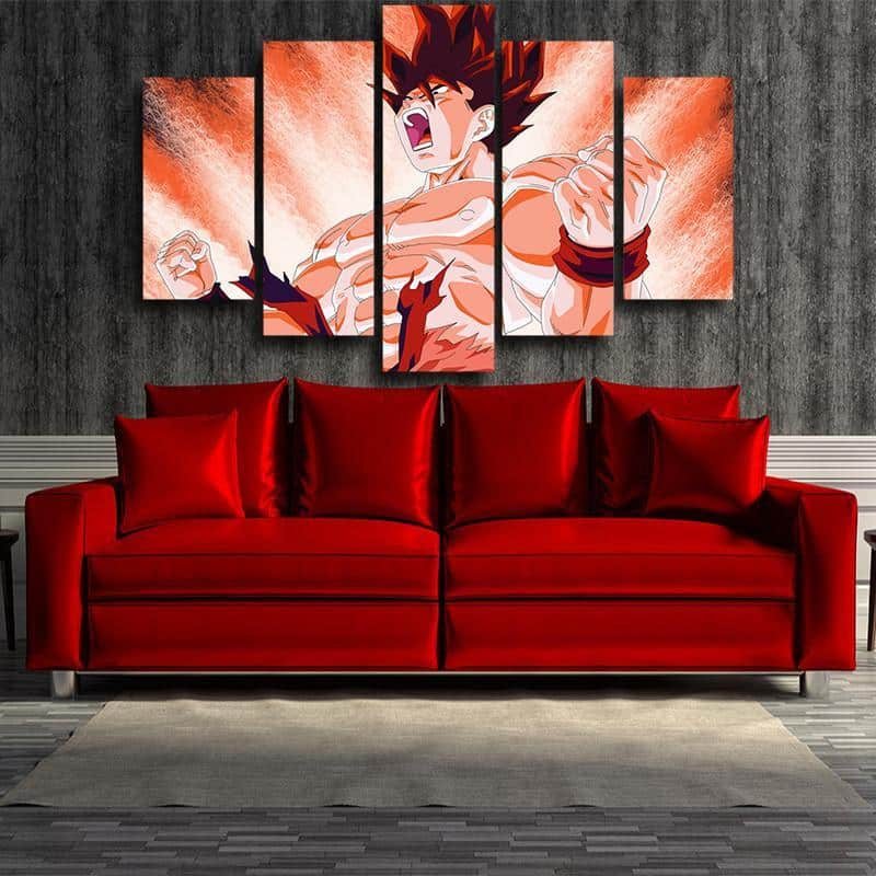 DBZ Goku Power Aura Muscle Strong Hero Decor 5pc Canvas Prints Wall Art