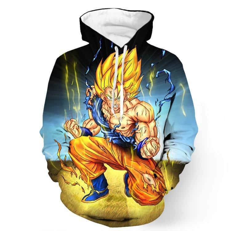 DBZ Goku Super Saiyan Thunder Power Damage Fight Cool Design Hoodie - Saiyan Stuff - 1