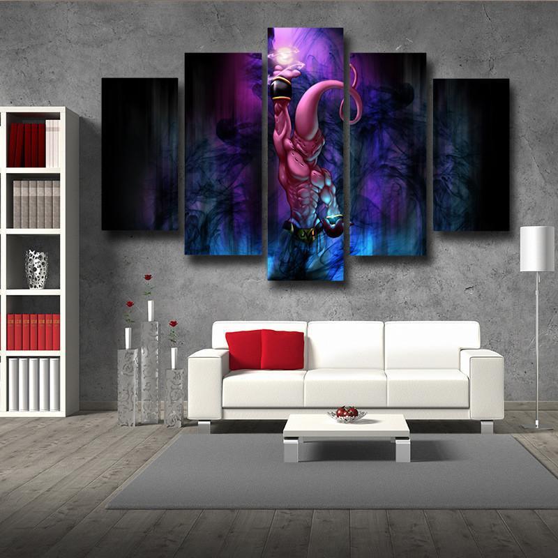 DBZ Kid Buu Spirit Ball Destruction Dark 5pc Canvas Prints Wall Decor