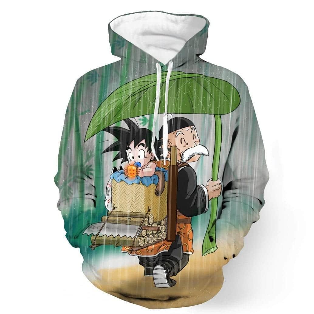 DBZ Kid Goku Master Roshi Cover Rain Cute Design Pocket Hoodie - Saiyan Stuff - 1