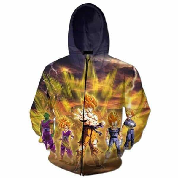 DBZ Super Saiyan Aura Goku Vegeta Gohan 3D Zipper Hoodie - Saiyan Stuff