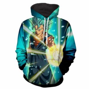 DBZ Super Saiyan Blue Vegito Wearing Potara Earrings Hoodie