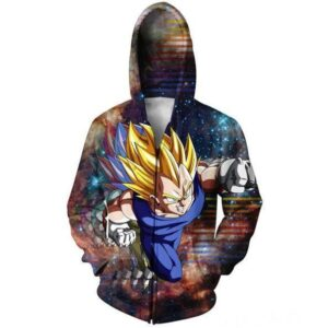 DBZ Super Saiyan Prince Vegeta Space Galaxy 3D Zip Up Hoodie - Saiyan Stuff