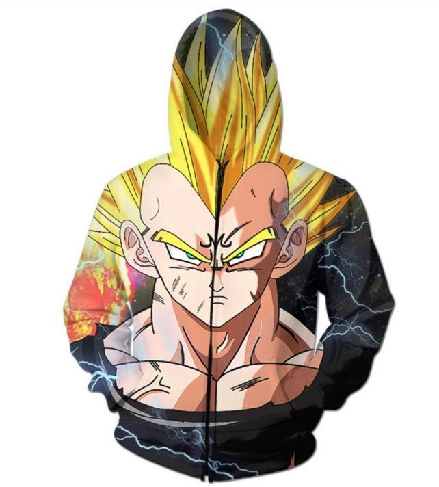 Dark Evil Demon Prince Majin Vegeta Zip Up Hoodie - Saiyan Stuff