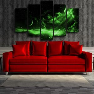 Dragon Ball Z Dark Green Outer Space 5pcs Canvas Print