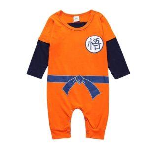 Dragon Ball Z Long Sleeve Goku Kanji Logo Orange Baby Jumpsuit