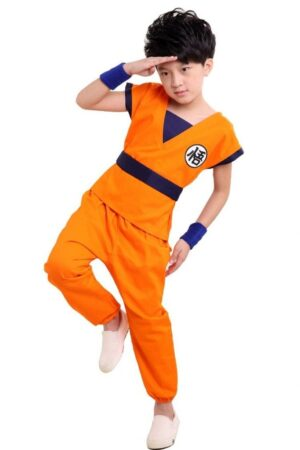 DBZ Son Goku Orange Kanji Logo Suit Cosplay Kids Outfit Set