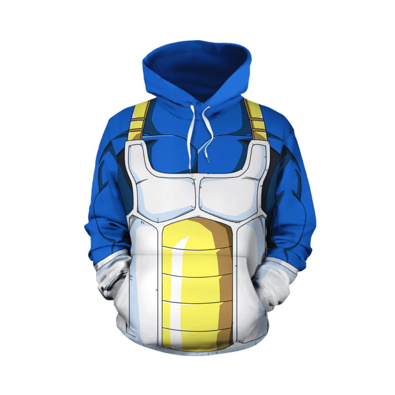Dragon Ball Z Vegeta Cool Blue Battle Armor Cosplay Hoodie