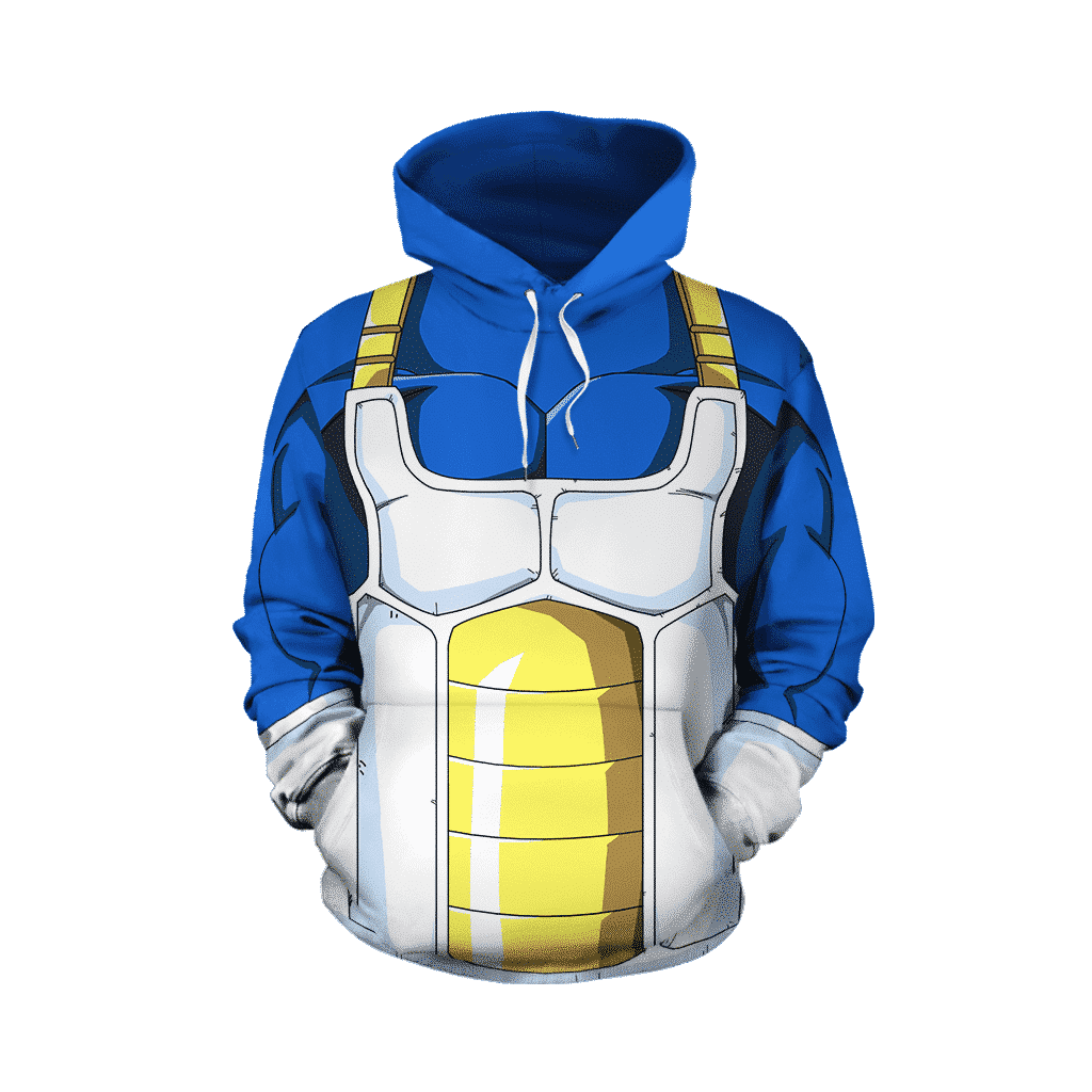 Dragon Ball Z Vegeta Cool Blue Battle Armor Cosplay Hoodie Saiyan Stuff Ensure victory at your next battle even if your opponent's power level is over 9000 by dressing up in this dragon ball z saiyan body armor. dragon ball z vegeta cool blue battle
