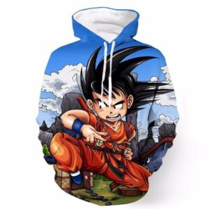 Dragon Ball Anime Angry Kid Goku Sky Clouds Blue 3D Hoodie - Saiyan Stuff - 1
