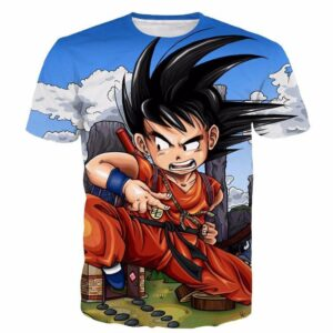 Dragon Ball Anime Angry Kid Goku Sky Clouds Blue 3D T- Shirt - Saiyan Stuff - 1