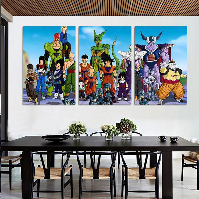 Dragon Ball Fighters Gather Portraits  3pc Wall Art Decor Canvas Prints