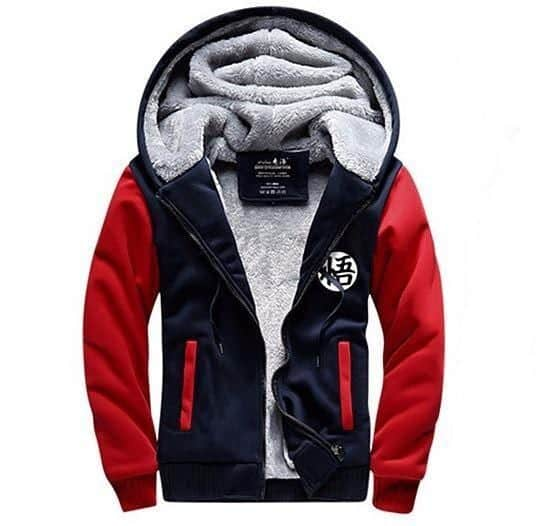 Dragon Ball Goku Cosplay Go Symbol Zipper Red Navy Hooded Jacket - Saiyan Stuff - 1