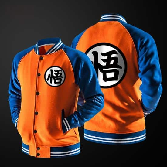 Dragon Ball Goku Mandarin Collar Orange Autumn Baseball Varsity Jacket