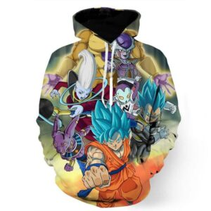 Dragon Ball Goku Vegeta Super Saiyan God Blue SSGSS Fight Villains Hoodie