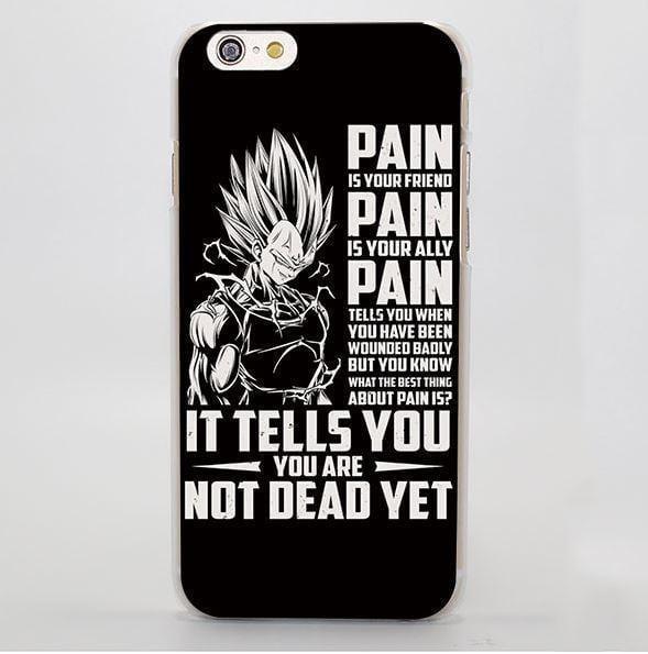 Dragon Ball Majin Vegeta Pain Motivation Quotes iPhone 4 5 6 7 8 X Plus Case