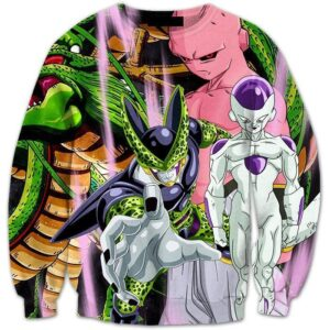 Dragon Ball Shenron and the Villains Cell Buu Frieza Dope 3D Sweatshirt - Saiyan Stuff