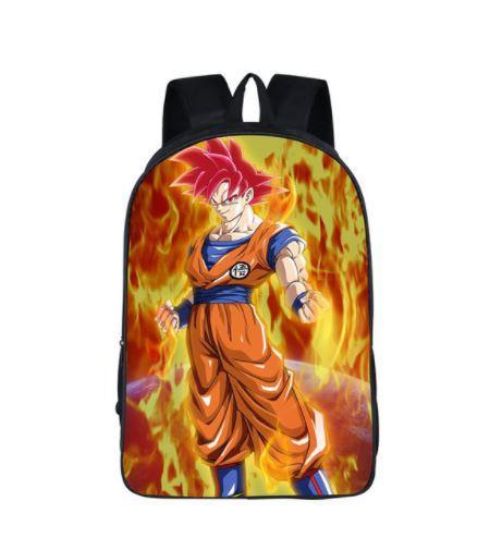 Dragon Ball Super Goku Saiyan SSJ God School Backpack Bag