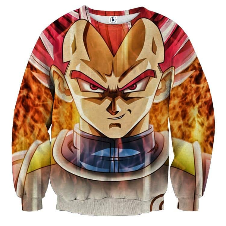 Dragon Ball Super Saiyan God Red Vegeta Cool Close Up Sweater