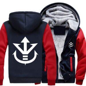 Dragon Ball Vegeta Saiyan Royal Crest Red Navy Zipper Hooded Jacket - Saiyan Stuff