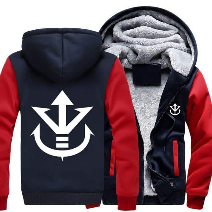 Dragon Ball Vegeta Saiyan Royal Crest Red Navy Zipper Hooded Jacket - Saiyan Stuff