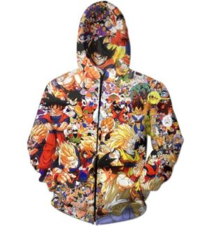 Dragon Ball Z Anime Manga Characters Full Print Hoodie - Saiyan Stuff