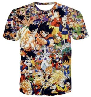 Dragon Ball Z Anime Manga Characters Full Print T-Shirt - Saiyan Stuff