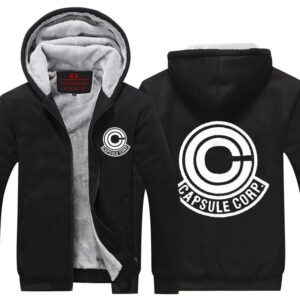 Dragon Ball Z Capsule Corp Logo Black Zip Up Hooded Jacket
