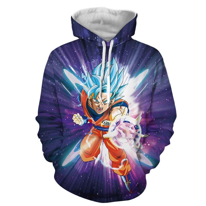 Dragon Ball Z Electrifying Goku Blue Hair God Form Hoodie