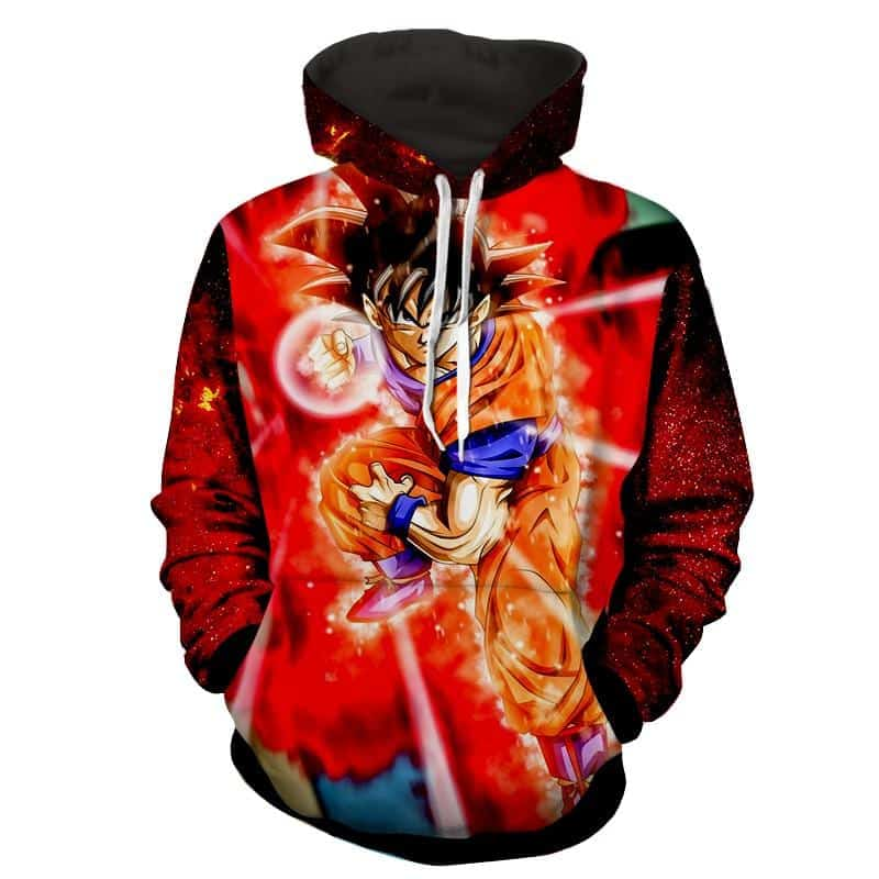 Dragon Ball Z Son Goku In A Punching Aura Position Hoodie