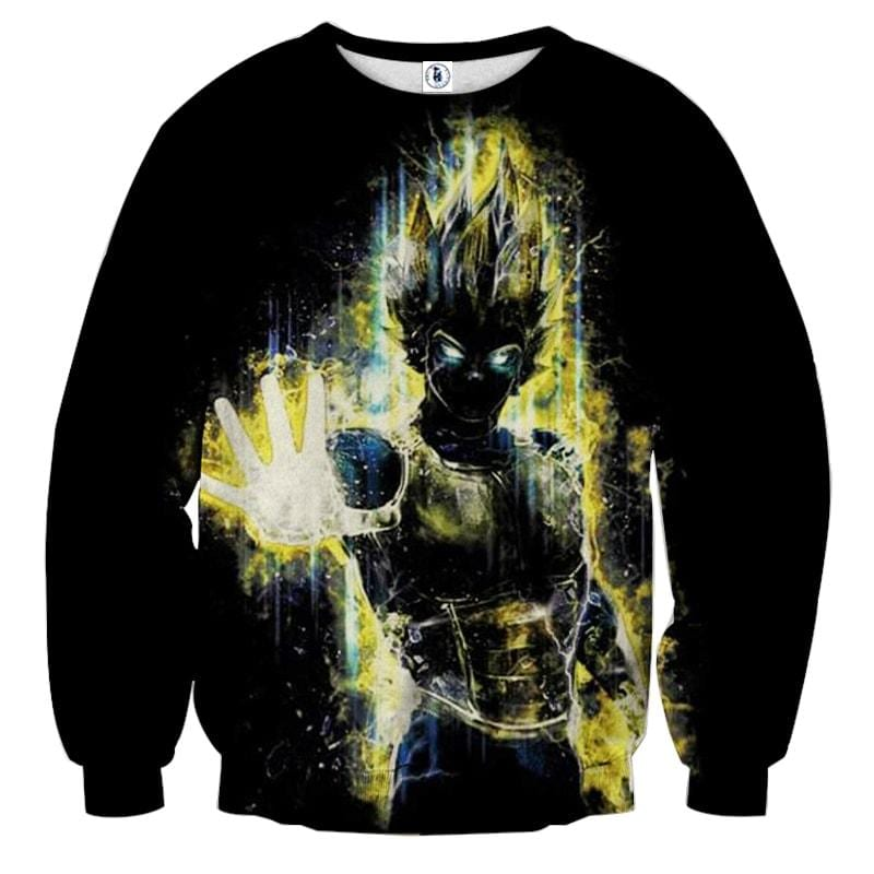 Dragon Ball Z Super Saiyan Vegeta Yellow Aura Epic Sweatshirt