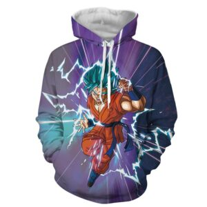 Dragon Ball Z The Terrifying Goku Blue Hair God Form Hoodie