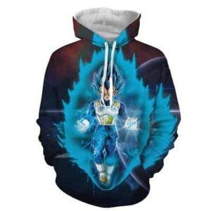 Dragon Ball Z Vegeta In His Blue Hair God Form Aura Hoodie