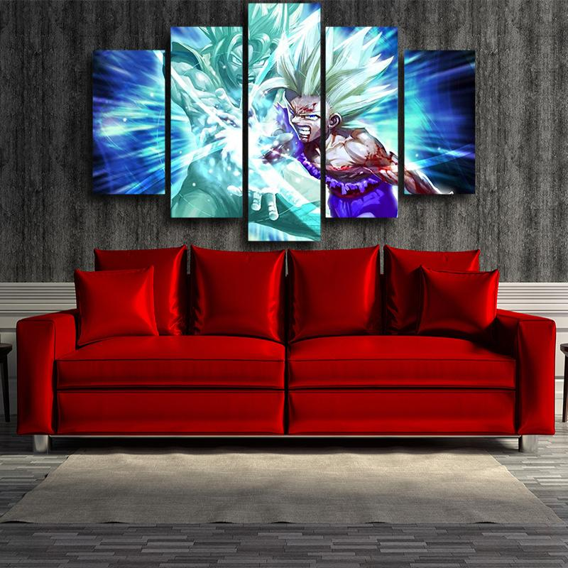 Goku And Gohan Super Saiyan Kamehameha Wave Blue 5pcs Canvas