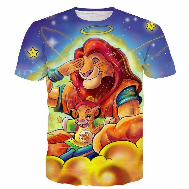 Goku Gohan Dragonball Lion King Simba Color Funny Galaxy T-Shirt - Saiyan Stuff - 1