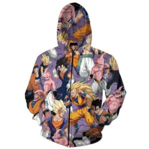 Goku Gohan Vegeta Against Buu 3D Purple Zip Up Hoodie - Saiyan Stuff