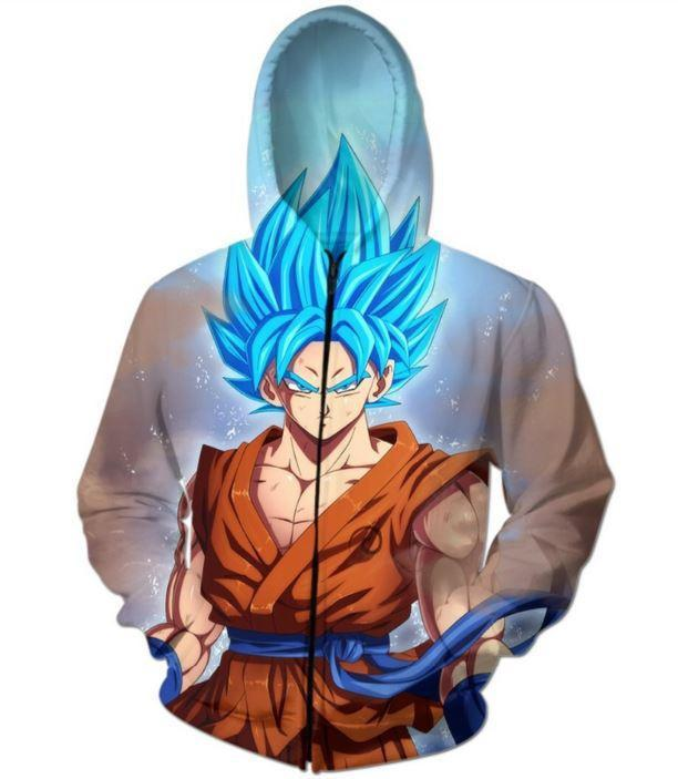 Goku Super Saiyan Blue SSGSS DBZ Zip Up Hoodie - Saiyan Stuff