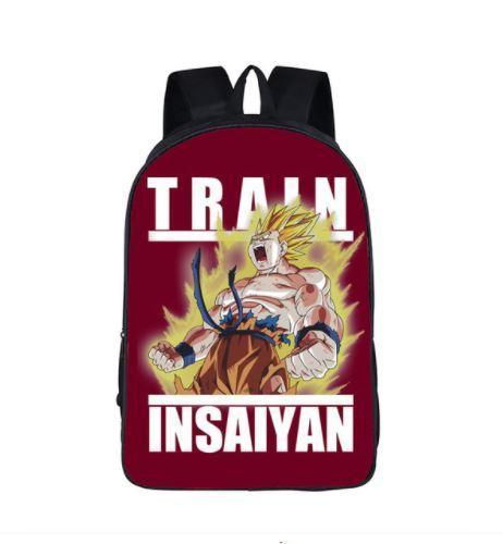 Goku Super Saiyan Mode Train Insane School Backpack Bag